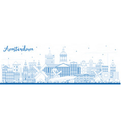 outline amsterdam holland city skyline with blue vector image