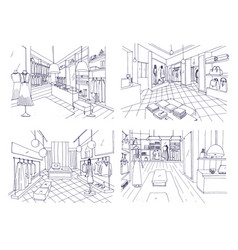 Outline drawings of clothing boutique interior vector
