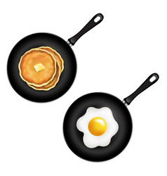 Pan with pancake and fried eggs isolated white vector