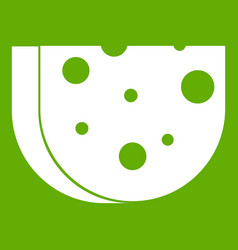 piece of swiss cheese icon green vector image