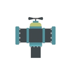 Pipe with a valve flat icon vector image