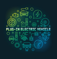 plug-in electric vehicle circular colorful vector image