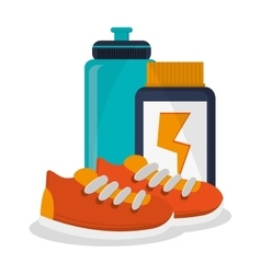 Protein jar shoes bottle and fitness design vector