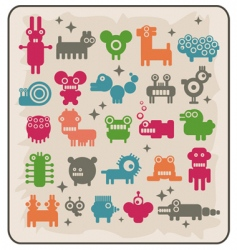 Robotsmonsters animals vector
