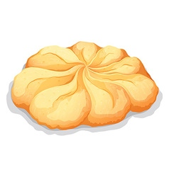 Round butter cookie on white vector image