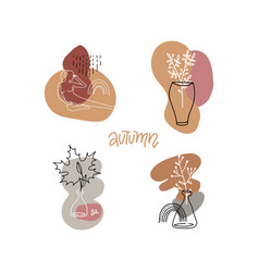 Set abstract print concepts with autumn vector
