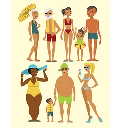 set beach people characters vector image