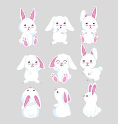 set cute rabbit wild animal vector image