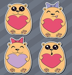 Set funny animal stickers vector