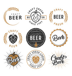 set of vintage craft beer labels badges vector image