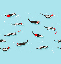 siamese cat pattern merry christmas new year snowy vector image