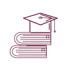 Silhouette books tools with graduation cap icon vector