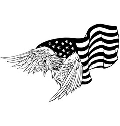 silhouette eagle against usa flag and white vector image