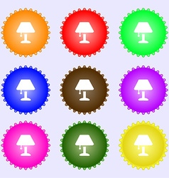 Table lamp Icon sign Big set of colorful diverse vector image