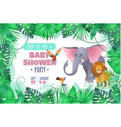 Tropical baby shower elephant lion in jungle vector