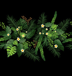 tropical flowers on black vector image