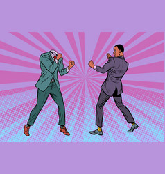 two men businessman fighting pattern without head vector image