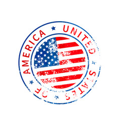 usa sign vintage grunge imprint with flag on vector image
