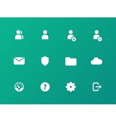 User Account icons on green background vector image