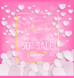 valentines day sale background calligraphy gold vector image