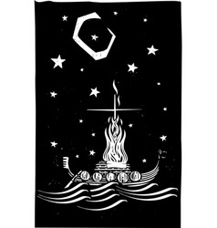 viking funeral at night vector image