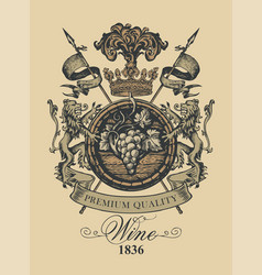vintage hand-drawn coat of arms for wine vector image