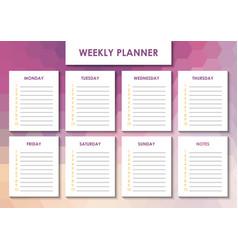 Weekly planner design vector