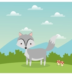 Wolf cartoon icon Woodland animal graphic vector