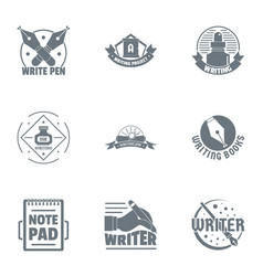 writer logo set simple style vector image