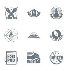 Writer logo set simple style vector