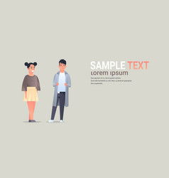 Young asian couple wearing casual clothes happy vector