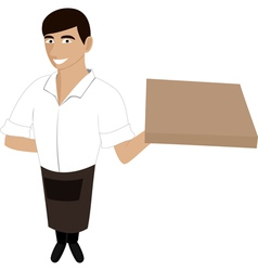 A waiter with a pizza vector image