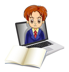 An angry man inside the laptop with a notebook in vector image vector image