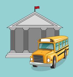building bus school design vector image vector image