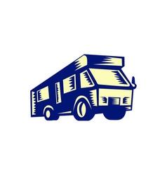 Camper Van Motor Home Woodcut vector image