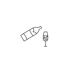 Champagne bottle explosion with cheering glasses vector