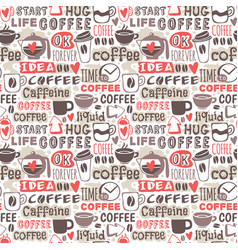 hand drawn coffee badge seamless patterns vector image vector image