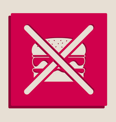 no burger sign grayscale version of vector image vector image