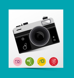 retro analog photo camera with photography icons vector image