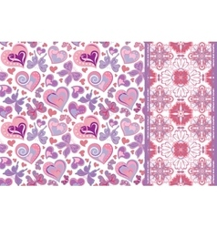 Set of valentines floral background with hearts vector image vector image