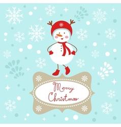 Snowgirl Christmas card vector image