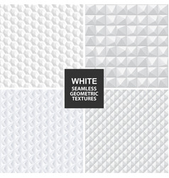 white seamless geometric textures vector image vector image