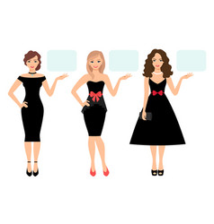 women in black dress presenting product vector image vector image