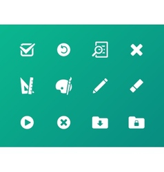 Application interface icons on green background vector image