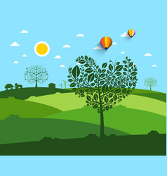 flat landscape with heart shaped tree on vector image vector image