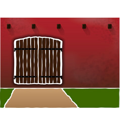 huge and old wooden gates on a dirty burgundy wall vector image
