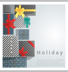 Set of gift boxes background on top view 2 vector image