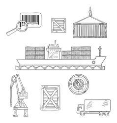 Shipping and marine freight icons vector image vector image