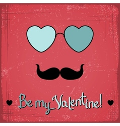 Valentine card with glasses heart and mustache vector image