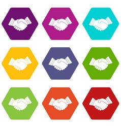 business handshake icon set color hexahedron vector image vector image
